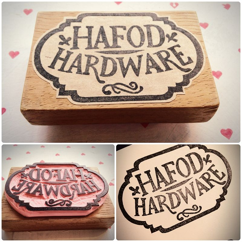 Rubber Stamp for Hafod Hardware in Mid Wales by ROSE WILLIAMS