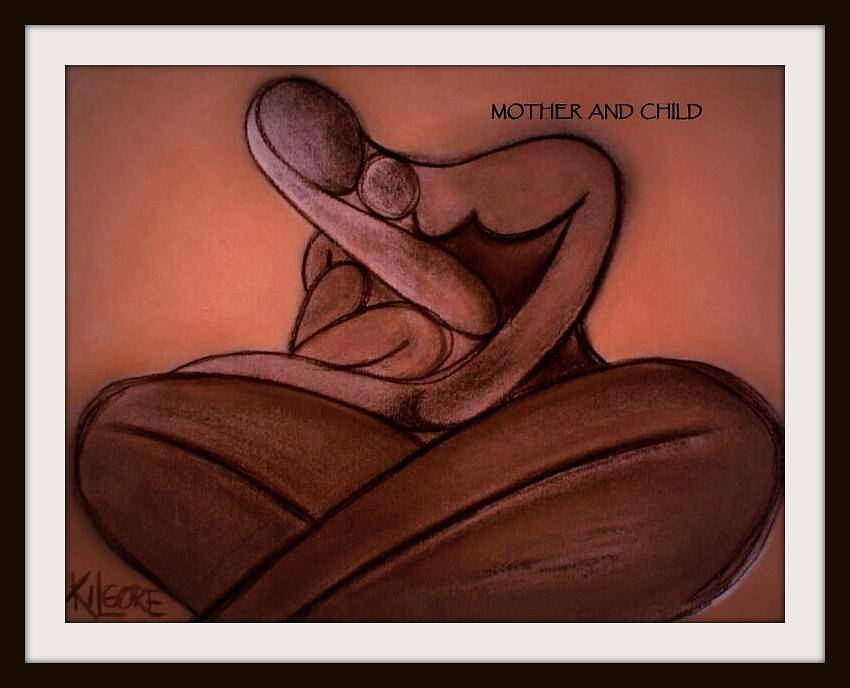 Mixed-media artwork MOTHER AND CHILD - circa 2011 by Michael Kilgore