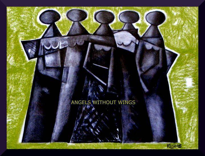 Mixed-media artwork ANGELS WITHOUT WINGS - circa 2007 by Michael Kilgore