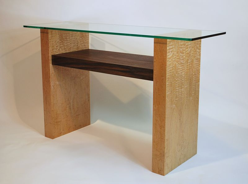 Oil painting Figured Maple-Black Walnut Console Table by Enrique Morales