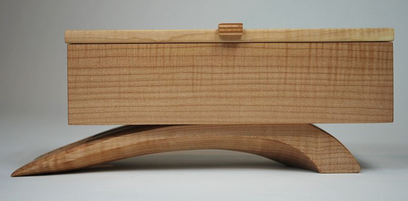 Oil painting Curly Maple Jewelry Box #2 by Enrique Morales