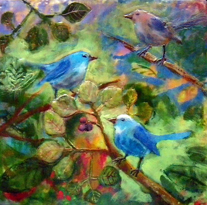 Blue Birds - Red Berries by Michele Barnes