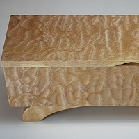 Oil painting Quilted Maple Jewellery Box #4 Detail-1 by Enrique Morales