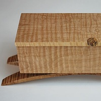 Oil painting Small Figured Maple Jewelry Box #3 by Enrique Morales