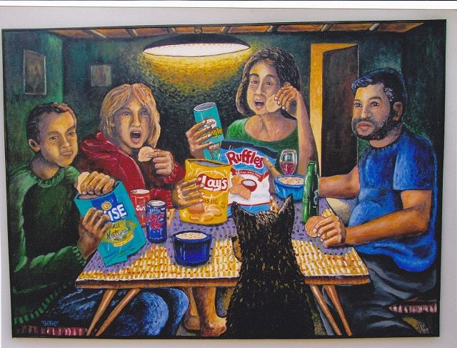 Acrylic painting Potato Chip Eaters (An Homage to Van Gogh) by Ron Buttler