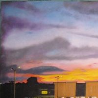 Oil painting Kalmia Plaza Sunset  by Ron Buttler