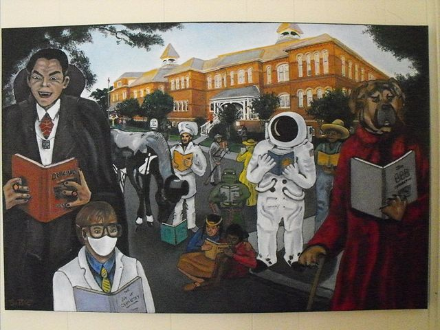 Oil painting Aiken Literati by Ron Buttler