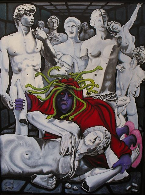 Oil painting Petrified ( Medusa Cleans Up After A Wild Party)  by Valerie Buttler