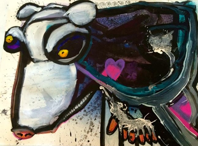 Mixed-media artwork Madcow by Joey Feldman