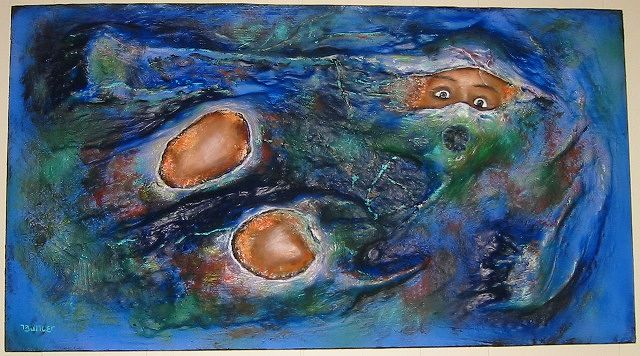 Oil painting Embryonic Breakout #1 by Ron Buttler