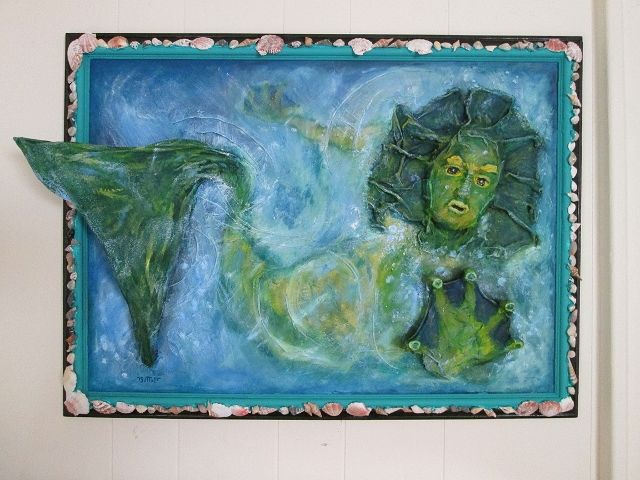 Oil painting Surfacing Mermaid  by Valerie Buttler