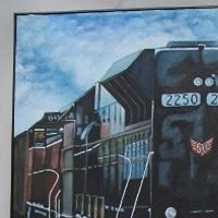 Oil painting When Trains and Realities Collide by Ron Buttler