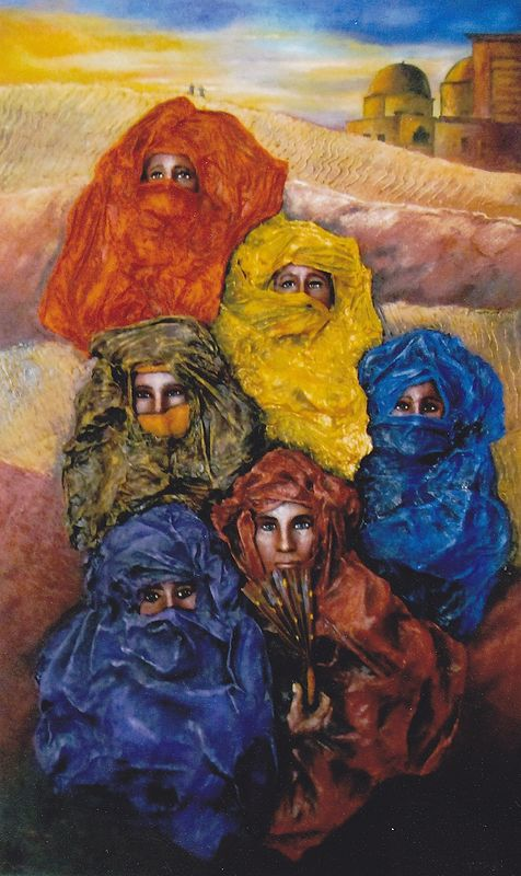 Oil painting Burkas, Turbans and Veils by Ron Buttler