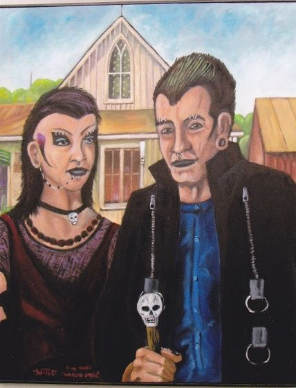 Oil painting American Goth  by Ron Buttler