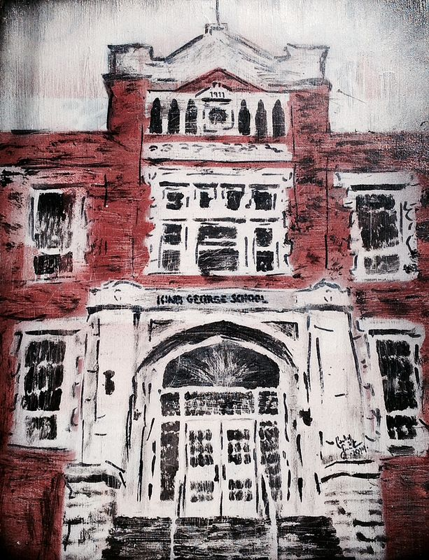 Acrylic painting King George School by Carly Jaye Smith