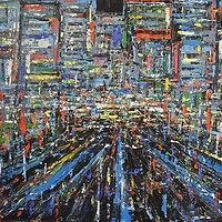 Acrylic painting  Urban Rhythms #18  by David Tycho