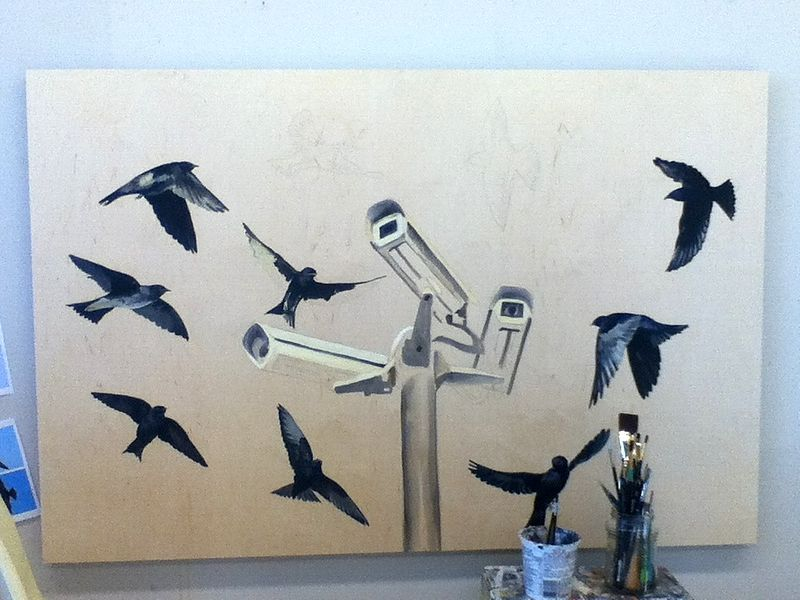 working my way around the flock and underpainting of cameras by Belinda Harrow