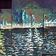 Oil painting Night Port Miami by Adrian Molina
