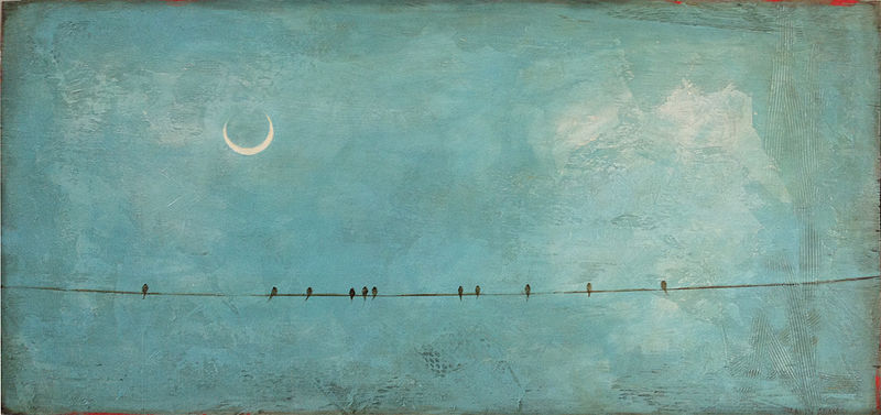 Acrylic painting Moonlight Mingle by Sally Adams
