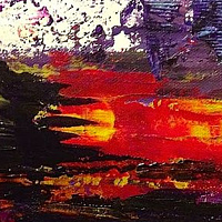 Acrylic painting Purple: Red Sun Bleed by Jeffrey Newman
