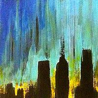 Acrylic painting City Sunrise by Jeffrey Newman