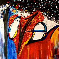Acrylic painting HeART filled with love by Jeffrey Newman