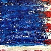 Acrylic painting american.flag.6.9.36x24 by Jeffrey Newman