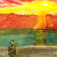 Acrylic painting Nuclear Sunset by Jeffrey Newman