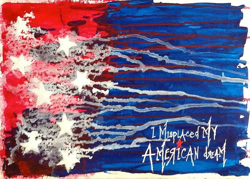 Acrylic painting I Misplaced My American Dream, Blue by Jeffrey Newman
