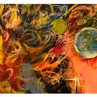 Acrylic painting SOLD.earth in hand12x30 by Jeffrey Newman