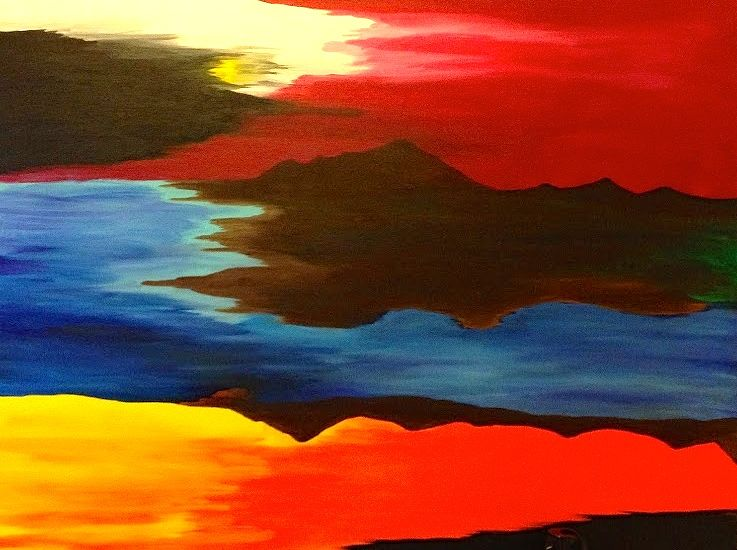Acrylic painting Mountain Sun by Jeffrey Newman