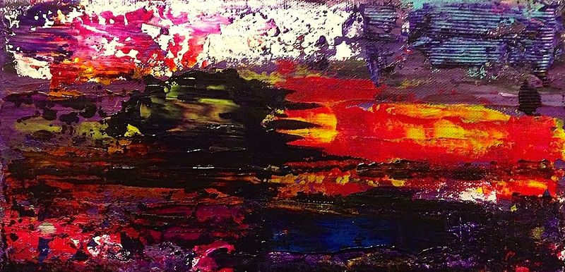 Acrylic painting Purple, Red Sun Bleed by Jeffrey Newman