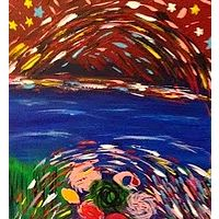 Acrylic painting SOLD.rainbow_flowers.30x12 by Jeffrey Newman