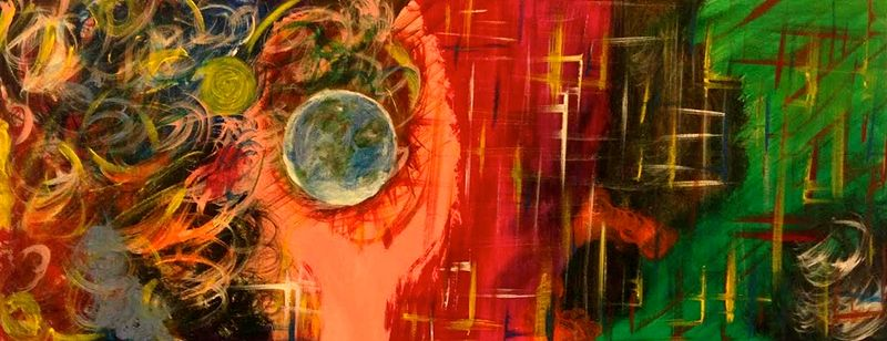 Acrylic painting Earth in Hand by Jeffrey Newman