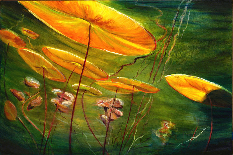 Mixed-media artwork Water lilies 37, 2014 by Sandra  Martin