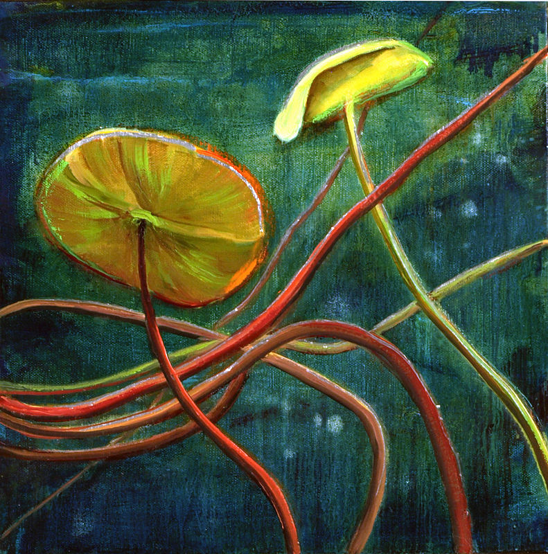Mixed-media artwork Water lilies 28, 2014 by Sandra  Martin