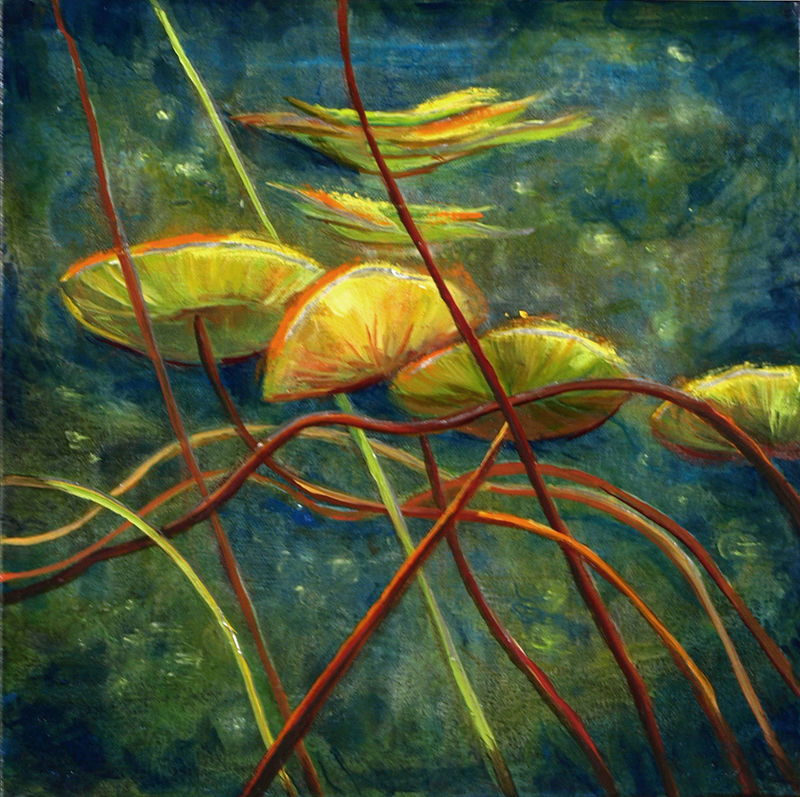 Mixed-media artwork Water lilies 25, 2014 by Sandra  Martin