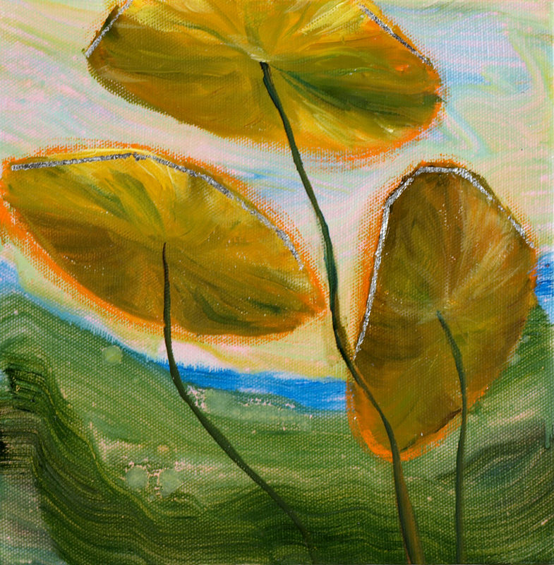 Mixed-media artwork Water lilies 23, 2014 by Sandra  Martin