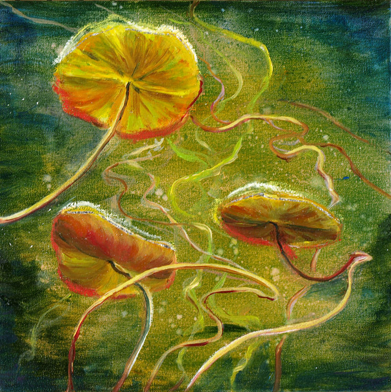 Mixed-media artwork Water lilies 22, 2014 by Sandra  Martin