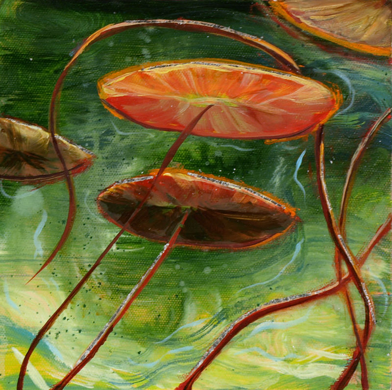 Mixed-media artwork Water lilies 20, 2014-SOLD by Sandra  Martin