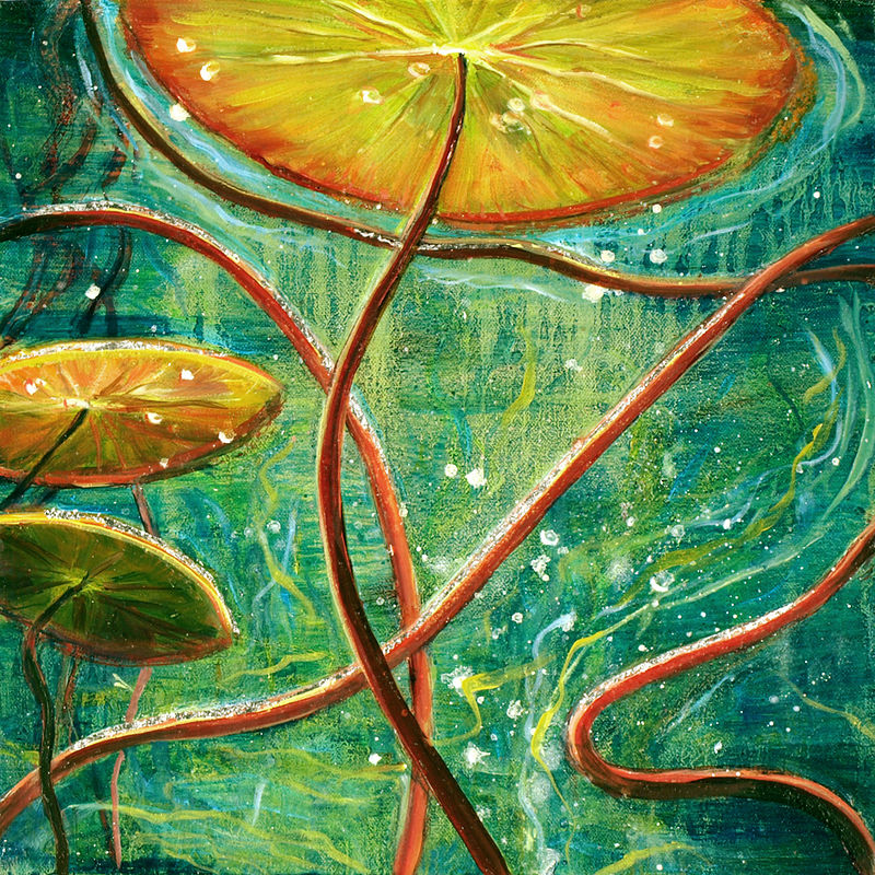 Mixed-media artwork Water lilies 17. 2014 by Sandra  Martin