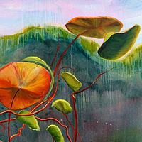 Mixed-media artwork Water lilies 4 by Sandra  Martin