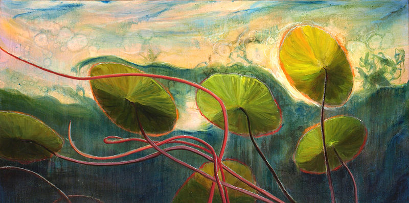 Mixed-media artwork Water lilies 5 by Sandra  Martin