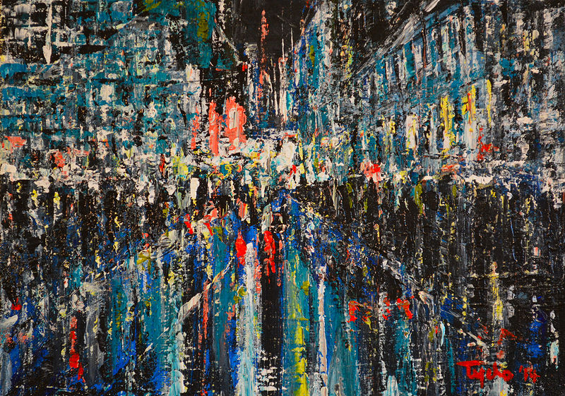 Acrylic painting Urban Study #1  by David Tycho