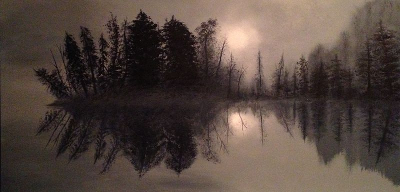 Acrylic painting Moon over La Ronge by Frank Kusch