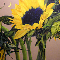 Acrylic painting Sunflowers by Reed Dixon