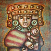 Acrylic painting Madre Teotihuacana by Emily K. Grieves