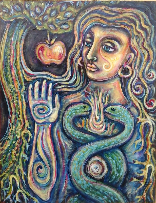 Acrylic painting Eve, Origin of Knowledge - The SoulFire Alchemist by Emily K. Grieves