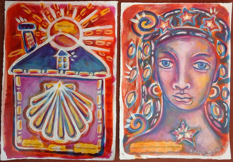 Acrylic painting Messages from the Muse by Emily K. Grieves