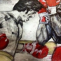 Acrylic painting Rocky vs Apollo by Carly Jaye Smith